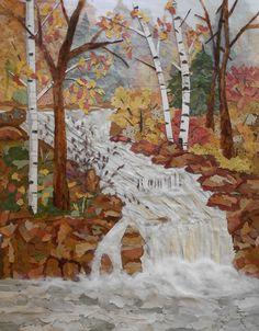 "pressed flower art-""Waterfall in the Woods"""