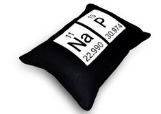Periodic Table Geeky  Nap Pillow -  Chemistry Elements  -  Black Cotton Embroidered