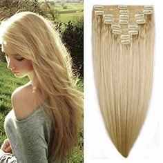 """US Stock 160g 22"""" Platinum Blonde Straight Real Natural Thick Double Weft Full Head Set Clip in 100% Remy Human Hair Extensions Top Grade 7A For Woman Beauty 8Piece 18Clips -- Find out more about the great product at the image link. We are a participant in the Amazon Services LLC Associates Program, an affiliate advertising program designed to provide a means for us to earn fees by linking to Amazon.com and affiliated sites."""