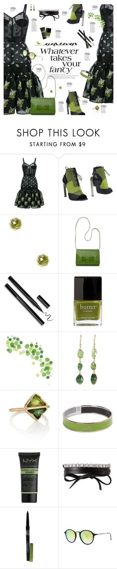 """""""Grass is Always Greener"""" by happilyjynxed ❤ liked on Polyvore featuring Alexander McQueen, Vic Matié, Carelle, P. Sherrod & Co., Butter London, Brooks, Hermès, NYX, Fallon and Max Factor"""