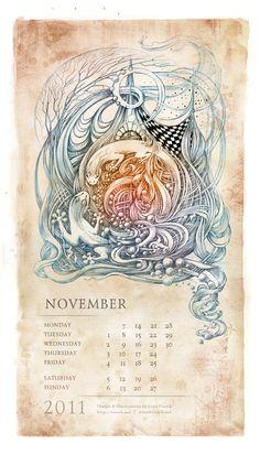 circling salamanders Saurians Renaissance (Calendar 2011) by Irina Vinnik, via Behance