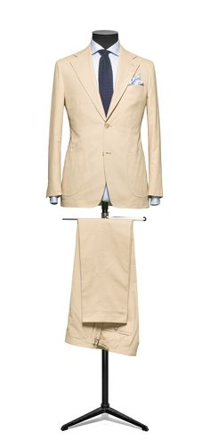 Beige cotton suit from our Louis Copeland collection. Suitable for summer weddings at home or abroad.