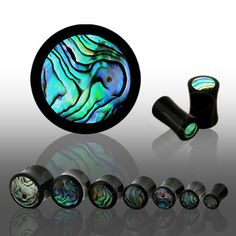PAIR (2) ABALONE INLAY BUFFALO HORN EAR PLUGS ORGANIC SADDLE GAUGES 4G-3/4""