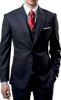 《Pinstripe Suit - Red Necktie》
