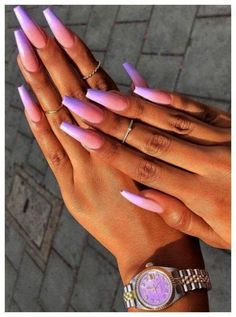 nails - Accent nails punch up your mani in easy ways 32 00077 com Purple Ombre Nails, Diy Nails Ombre, Ombre Hair, Lavender Nails, Fire Nails, Best Acrylic Nails, Purple Acrylic Nails, Bright Summer Acrylic Nails, Pastel Nail
