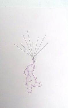 Baby Shower Keepsake art elephant holding by mylovebubble on Etsy