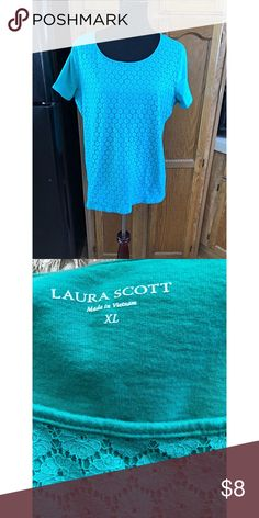 Laura Scott Crochet Lace Front Top XL Tshirt top by Laura Scott.  Front has a crochet lace overlay.  Light turquoise color.  Size XL.  Good condition. Important:   All items are freshly laundered as applicable prior to shipping (new items and shoes excluded).  Not all my items are from pet/smoke free homes.  Price is reduced to reflect this!   Thank you for looking! Laura Scott Tops Tees - Short Sleeve