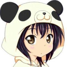 Anime girl wearing PANDA hat! To cute!