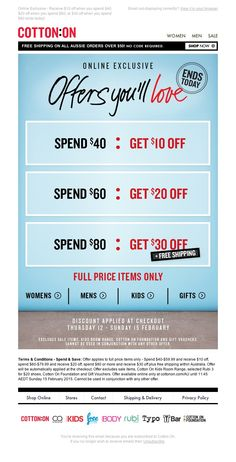 Cotton On - LAST CHANCE: Spend & Save Ends Today!