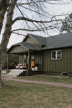 Cabin Exterior Colors, Green Exterior Paints, Bungalow Exterior, House Paint Exterior, Exterior Design, Board And Batten Exterior, Minnesota Home, Exterior Makeover, Exterior Remodel