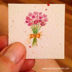 Copyright by Adriana Galindo - bouquet, miniatura, miniature, flores, flowers, aquarela, watercolor, arches