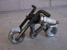 ON SALE Motorcycle Spark Plug Motorcycle Recycled Metal Scrap Metal Art