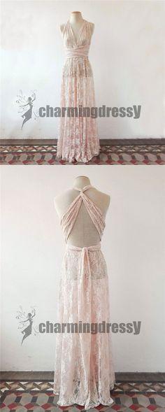 Full Pink Lace Convertible Simple Beautiful Prom Dresses, Wedding guest dresses, PD0354 #promdresses#bridesmaiddresses#charmingdressy