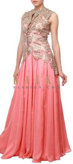 Buy Online from the link below. We ship worldwide (Free Shipping over US$100) http://www.kalkifashion.com/peach-anarkali-embellished-in-sequins-only-on-kalki.html
