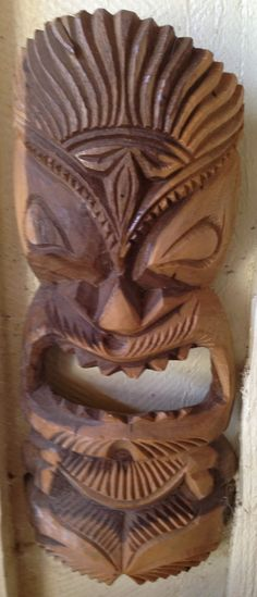 Tiki warrior hawaiian tiki mask tattoo design 2013 05 for Wood carving tattoo real