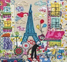 """A beautiful archival Giclee print of Paris, all ready for framing. The image is printed 7"""" wide x 7"""" high on a piece of A4 sized paper. The original image was made using collage, with fabric.It is supplied unframed, and will fit into any standard A4 size frameIt is packaged with a piece of light card for protection."""