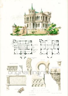 1854 Castle plans Architectural antique print by sofrenchvintage