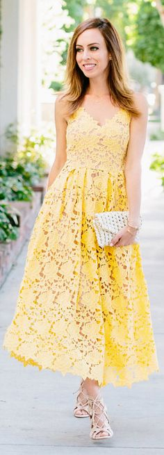 Yellow Crew Neck A-Line Lace Dress -SheIn(Sheinside) | Style ...