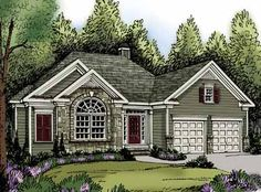 Home Plans HOMEPW02744 - 1,851 Square Feet, 3 Bedroom 2 Bathroom Traditional Home with 2 Garage Bays