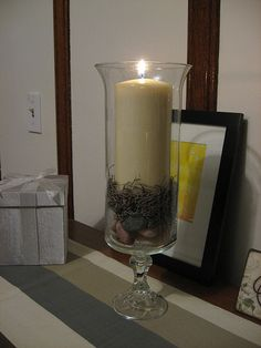 Dollar Store DIY Hurricane candle holders made from a glass candlestick & a glass vase- cost? $2 -cool beans