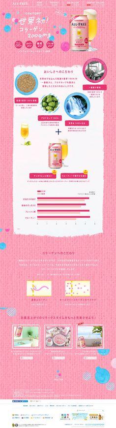 オールフリーコラーゲン【飲料・お酒関連】のLPデザイン。WEBデザイナーさん必見!ランディングページのデザイン参考に(かわいい系) Tokyo Design, Japan Design, Web Layout, Layout Design, Web Japan, Korean Design, Email Design, Web Banner, Site Design