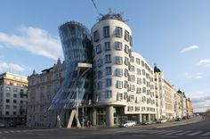 The Dancing House in Prague (Czech Republic) represent the legenday dancers: Ginger and Fred. It's a landmark designed by Frank Ghery and Vlado Milunic.