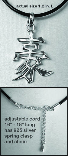 Chinese Character for COURAGE Necklace Solid 925 Sterling Silver
