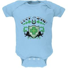 St. Patricks Day - Luck Of The Irish Light Blue Soft Baby One Piece