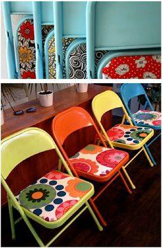 6 Cadeiras de metal pintadas no blog Detalhes Magicos                                                                                                                                                                                 Mais