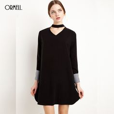 Cute V Neck Long Sleeve - Europen Style Dress.