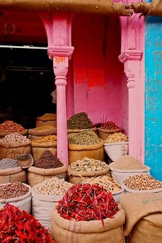 thepaintedbench:  Spice Market in Morocco