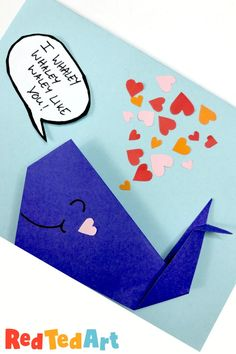 Red Ted Art's Easy Origami Whale Card: I whaley whaley whaley Like you