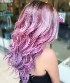 Gorgeous pink and purple hair. bright. pastel