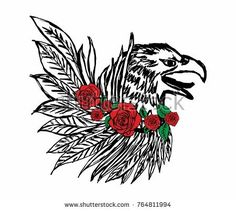 Eagle and rose graphic design vector art Graphic Prints, Graphic Art, Graphic Tees, Flower Vector Art, Tattoo Grafik, Dove Drawing, Plant Drawing, Fashion Graphic Design, Chinese Landscape