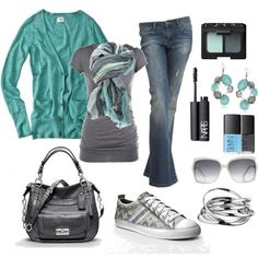 Fashionista Trends. Fall casual outfit. Mint & grey. Coach sneakers.