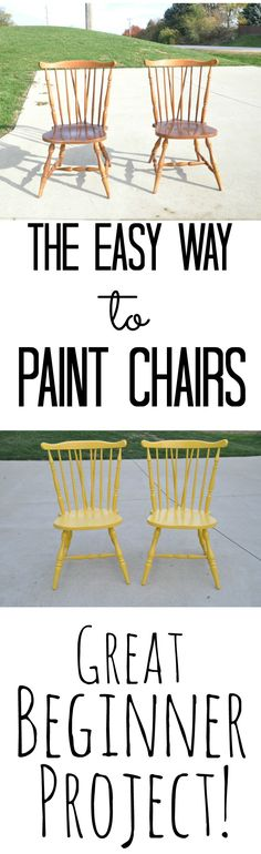 to Paint Chairs the Easy Way The Easy Way to Paint Chairs {Great Beginner Project}. Wish I would have known this sooner! DIY Home DecorThe Easy Way to Paint Chairs {Great Beginner Project}. Wish I would have known this sooner! DIY Home Decor Refurbished Furniture, Paint Furniture, Repurposed Furniture, Furniture Projects, Furniture Makeover, Furniture Refinishing, Furniture Chairs, Trendy Furniture, Repurposed Wood
