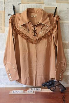 Vintage Western Tan Cowboy Costume Shirt With Arrow Pockets by The Jordan Marsh Company. $45.00, via Etsy.