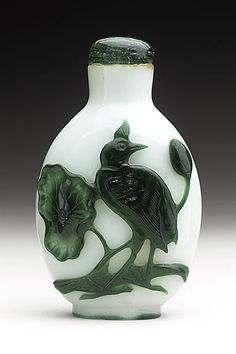 Snuff Bottle (Biyanhu) with Lotus and Water Bird, China, Late Qing dynasty, about 1800-1911, Green overlay on opaque white glass, with glass stopper