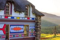 ndebele landscape - Google Search Environmental Art, Cabin, Landscape, House Styles, Inspiration, Google Search, Home Decor, Biblical Inspiration, Scenery