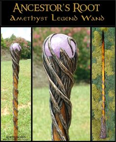 Kurth Works Custom Hand Carved Magic Wizard Wands and Staffs. Really want to make walking sticks like this! Wizard Staff, Wizard Wand, Walking Staff, Creation Art, Crystal Magic, Crystal Sphere, Ideias Diy, Cosplay Tutorial, Witches