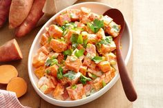With a lower GI and low kilojoules, sweet potato salad has become a popular side dish.