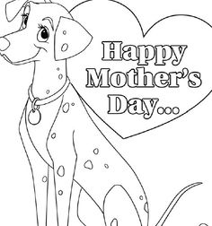 Free Color Print Mothers Day Card 101 Dalmations