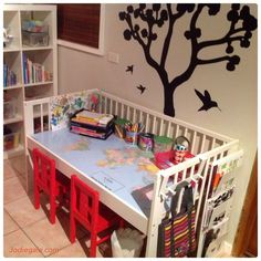 I upcycled the kids' old cot into a desk using IKEA cot and other items from IKEA. Instructions on IKEA Hackers Baby Crib Diy, Baby Cribs, Baby Bedding, Repurposed Furniture, Kids Furniture, Furniture Market, Furniture Movers, Furniture Stores, Ikea Cot