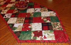Red and Green Christmas Table Runner Quilt by KeriQuilts on Etsy, $65.00