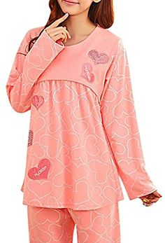 MIAMAMA Womens Maternity Soft Comfortable Nursing Pajama Cotton Set Sleepwear XLarge