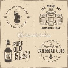 Conjunto de emblemas piratas artesanal vintage, etiquetas, logotipos. Aislado en…