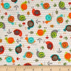 CREATURES AND CRITTERS SNAILS GREY QUILT COTTON FABRIC FREE OZ POST