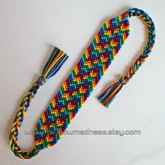 rainbow bracelet with shaped ends by rainbowmadness on Etsy