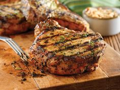 Grilled Pork Chops with Basil-Garlic Rub by foodnetwork #Pork_Chops #Basil #Garlic