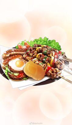 and Drink wallpaper cartoon Cute Food Art, Food Art For Kids, Real Food Recipes, Yummy Food, Food Sketch, Food Drawing, Drawing Drawing, Watercolor Food, Food Wallpaper